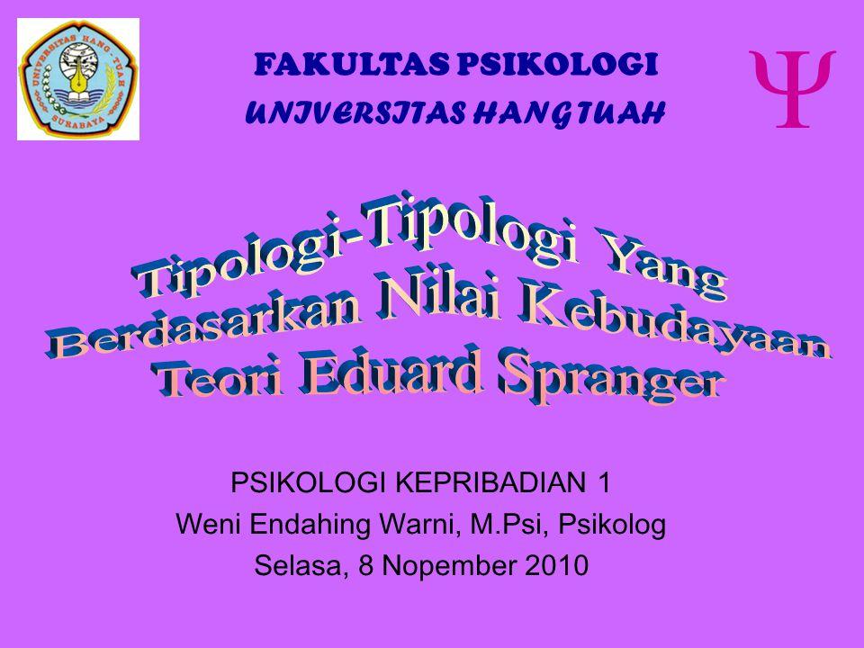 PSIKOLOGI KEPRIBADIAN 1 Weni Endahing Warni, M.Psi, Psikolog Selasa, 8 Nopember 2010  FAKULTAS PSIKOLOGI UNIVERSITAS HANG TUAH