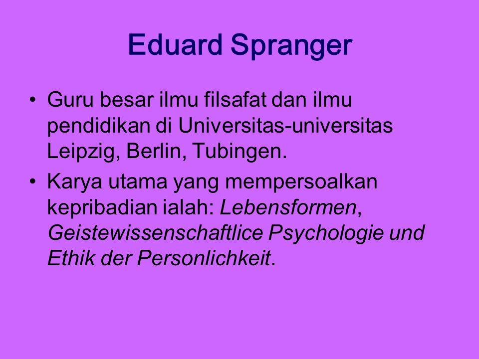 Eduard Spranger Guru besar ilmu filsafat dan ilmu pendidikan di Universitas-universitas Leipzig, Berlin, Tubingen. Karya utama yang mempersoalkan kepr