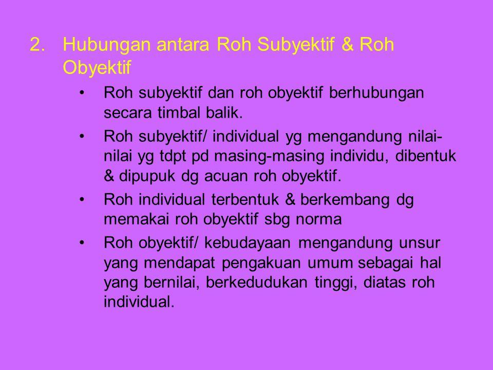 2.Hubungan antara Roh Subyektif & Roh Obyektif Roh subyektif dan roh obyektif berhubungan secara timbal balik. Roh subyektif/ individual yg mengandung