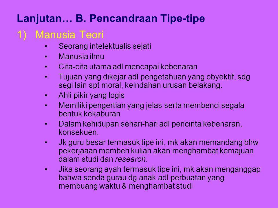 Lanjutan… B. Pencandraan Tipe-tipe 1)Manusia Teori Seorang intelektualis sejati Manusia ilmu Cita-cita utama adl mencapai kebenaran Tujuan yang dikeja