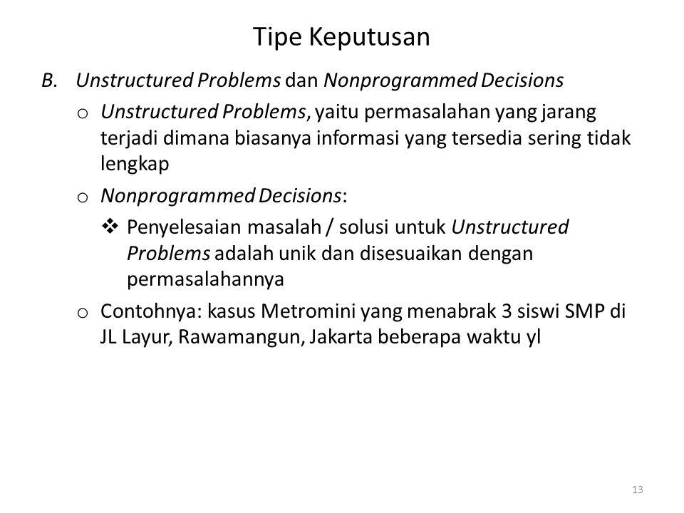 Tipe Keputusan B.Unstructured Problems dan Nonprogrammed Decisions o Unstructured Problems, yaitu permasalahan yang jarang terjadi dimana biasanya inf