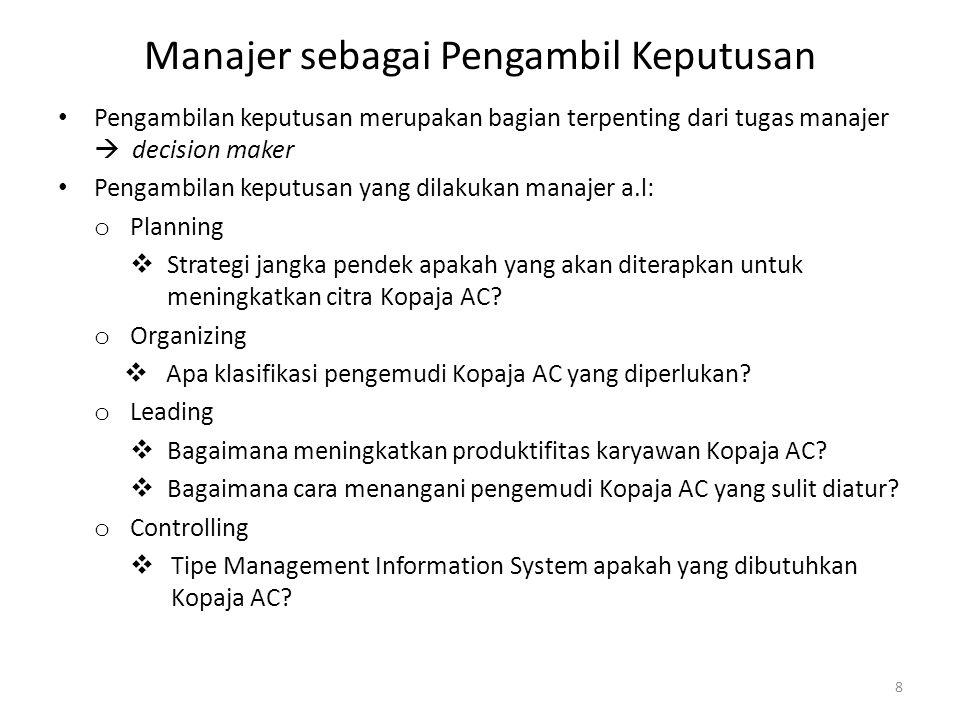Manajer sebagai Pengambil Keputusan Pengambilan keputusan merupakan bagian terpenting dari tugas manajer  decision maker Pengambilan keputusan yang d