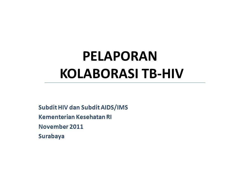 PELAPORAN KOLABORASI TB-HIV Subdit HIV dan Subdit AIDS/IMS Kementerian Kesehatan RI November 2011 Surabaya