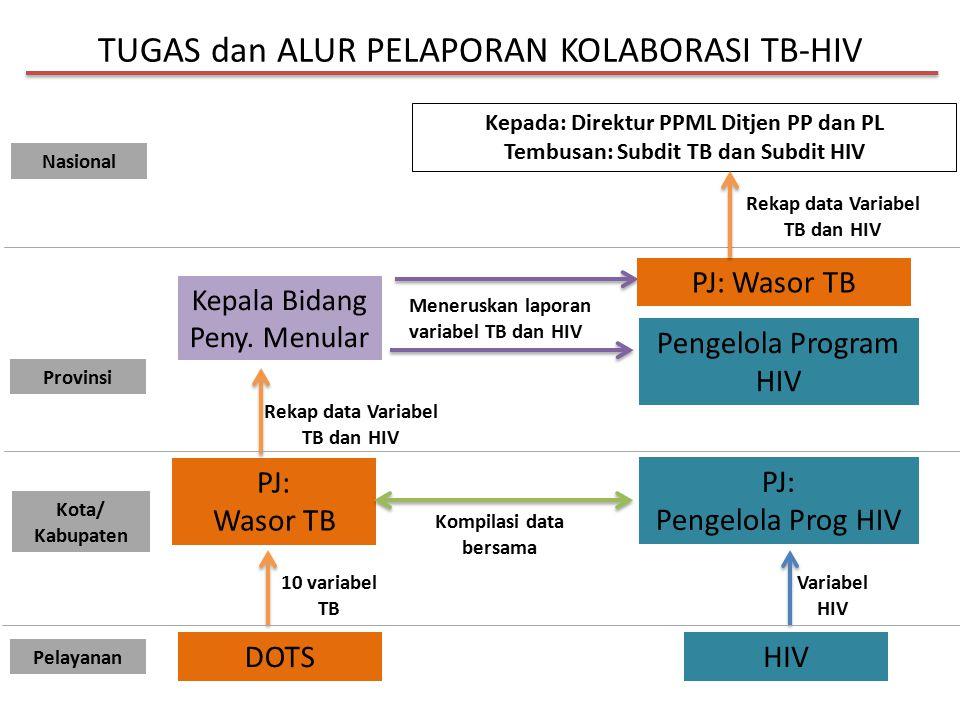 TUGAS dan ALUR PELAPORAN KOLABORASI TB-HIV DOTS HIV PJ: Wasor TB PJ: Pengelola Prog HIV 10 variabel TB Variabel HIV Kepala Bidang Peny. Menular Kepada