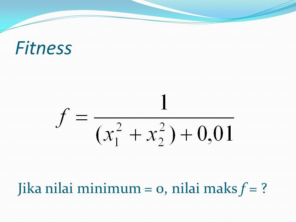 Fitness Jika nilai minimum = 0, nilai maks f =