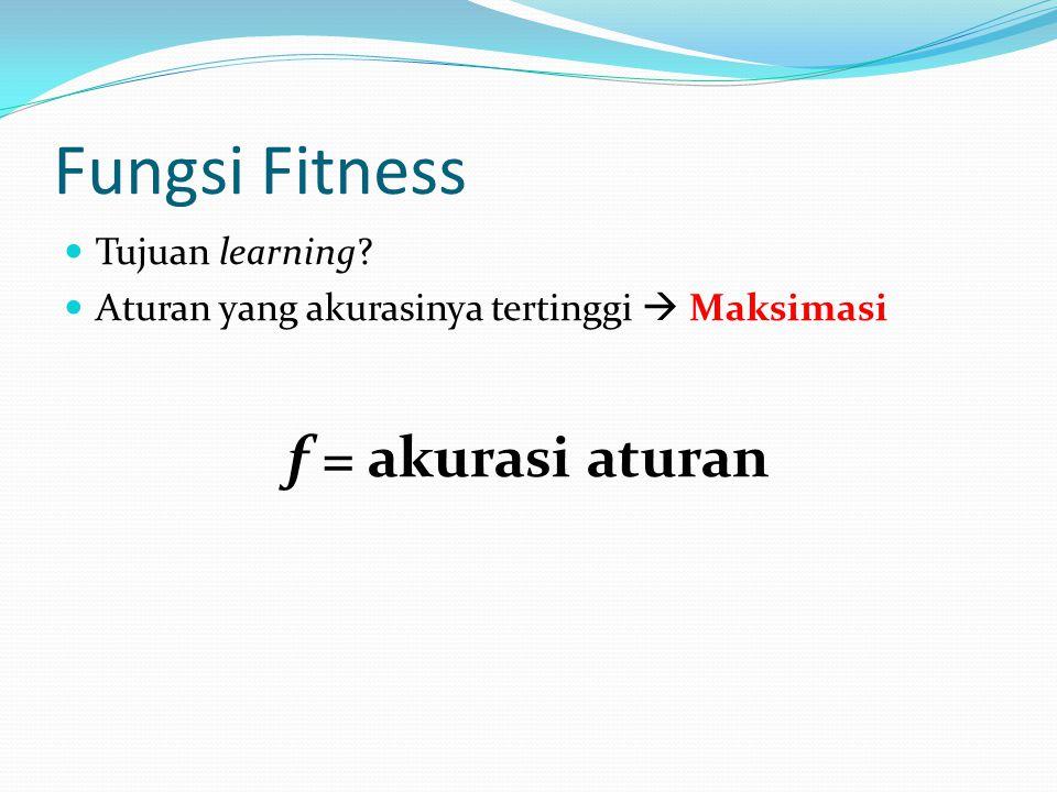 Fungsi Fitness Tujuan learning Aturan yang akurasinya tertinggi  Maksimasi f = akurasi aturan