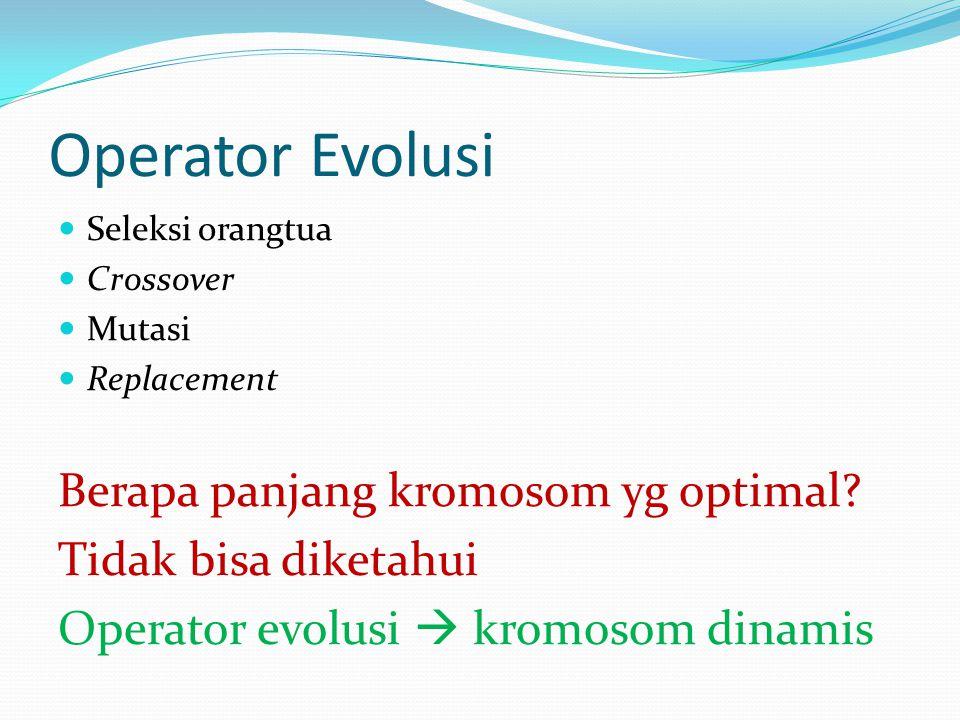 Operator Evolusi Seleksi orangtua Crossover Mutasi Replacement Berapa panjang kromosom yg optimal.