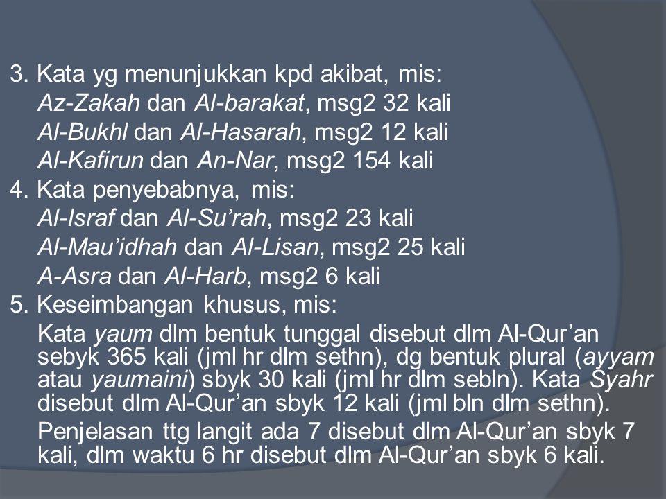 3. Kata yg menunjukkan kpd akibat, mis: Az-Zakah dan Al-barakat, msg2 32 kali Al-Bukhl dan Al-Hasarah, msg2 12 kali Al-Kafirun dan An-Nar, msg2 154 ka