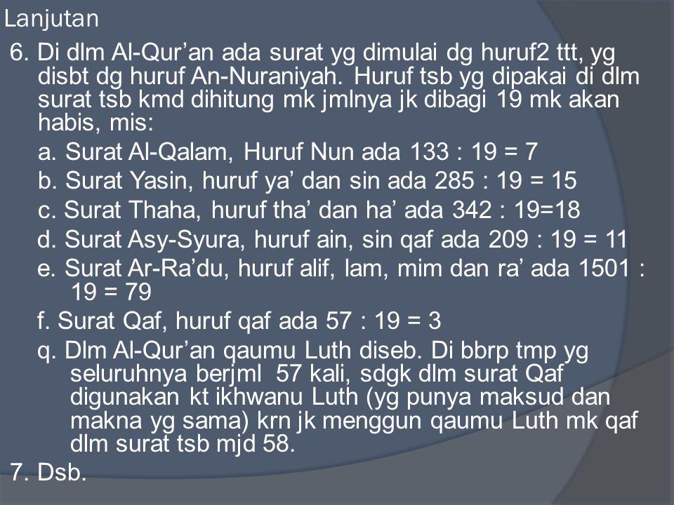 Lanjutan 6. Di dlm Al-Qur'an ada surat yg dimulai dg huruf2 ttt, yg disbt dg huruf An-Nuraniyah. Huruf tsb yg dipakai di dlm surat tsb kmd dihitung mk