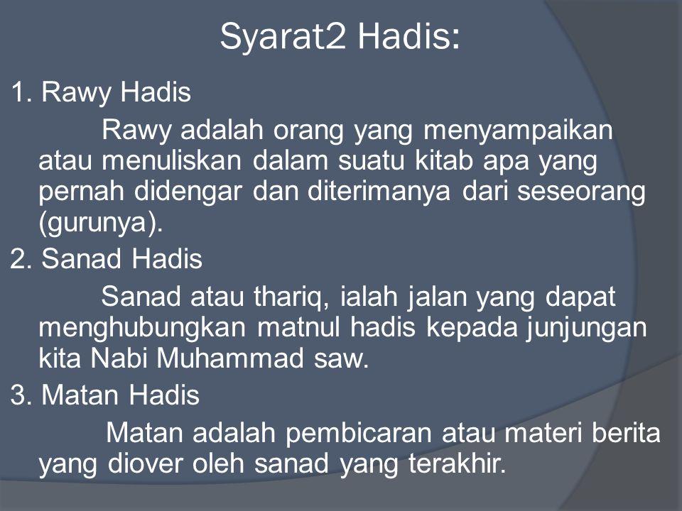 Syarat2 Hadis: 1. Rawy Hadis Rawy adalah orang yang menyampaikan atau menuliskan dalam suatu kitab apa yang pernah didengar dan diterimanya dari seseo