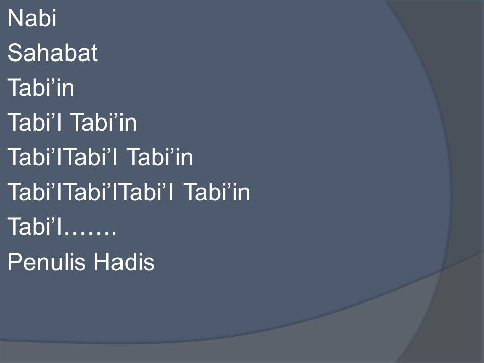 Nabi Sahabat Tabi'in Tabi'I Tabi'in Tabi'ITabi'I Tabi'in Tabi'ITabi'ITabi'I Tabi'in Tabi'I……. Penulis Hadis