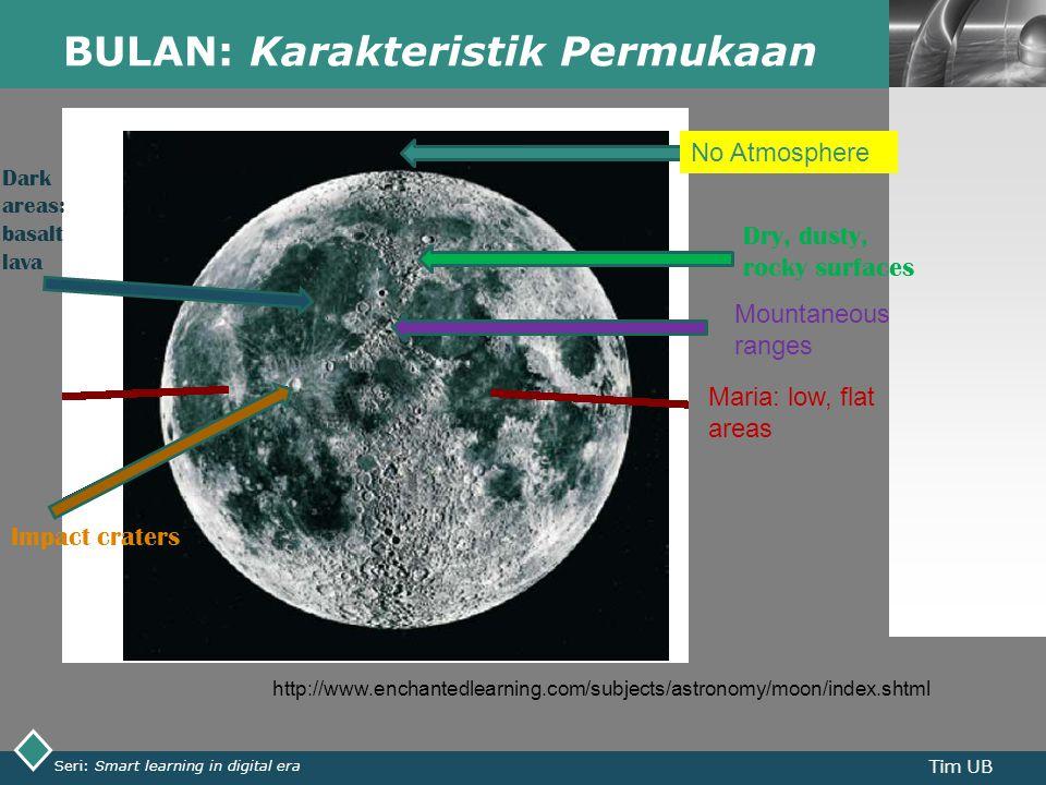 LOGO BULAN: Karakteristik Permukaan Seri: Smart learning in digital era Tim UB http://www.enchantedlearning.com/subjects/astronomy/moon/index.shtml No Atmosphere Mountaneous ranges Maria: low, flat areas Dry, dusty, rocky surfaces Impact craters Dark areas: basalt lava