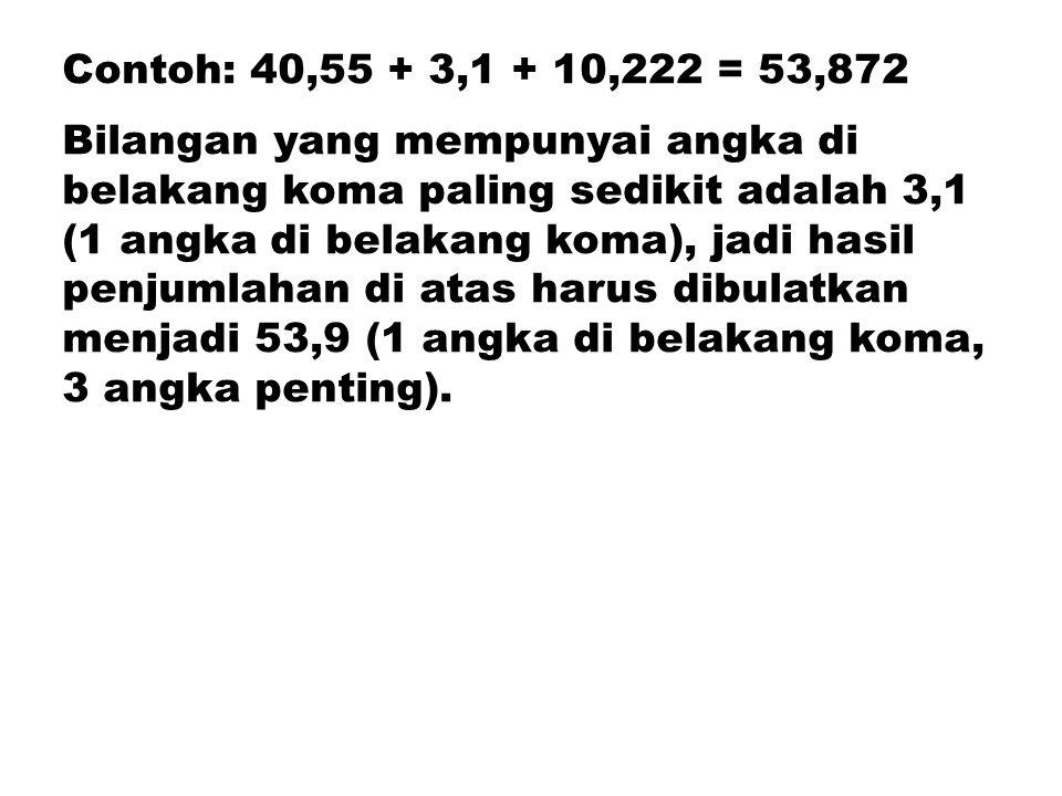 Contoh: 40,55 + 3,1 + 10,222 = 53,872 Bilangan yang mempunyai angka di belakang koma paling sedikit adalah 3,1 (1 angka di belakang koma), jadi hasil