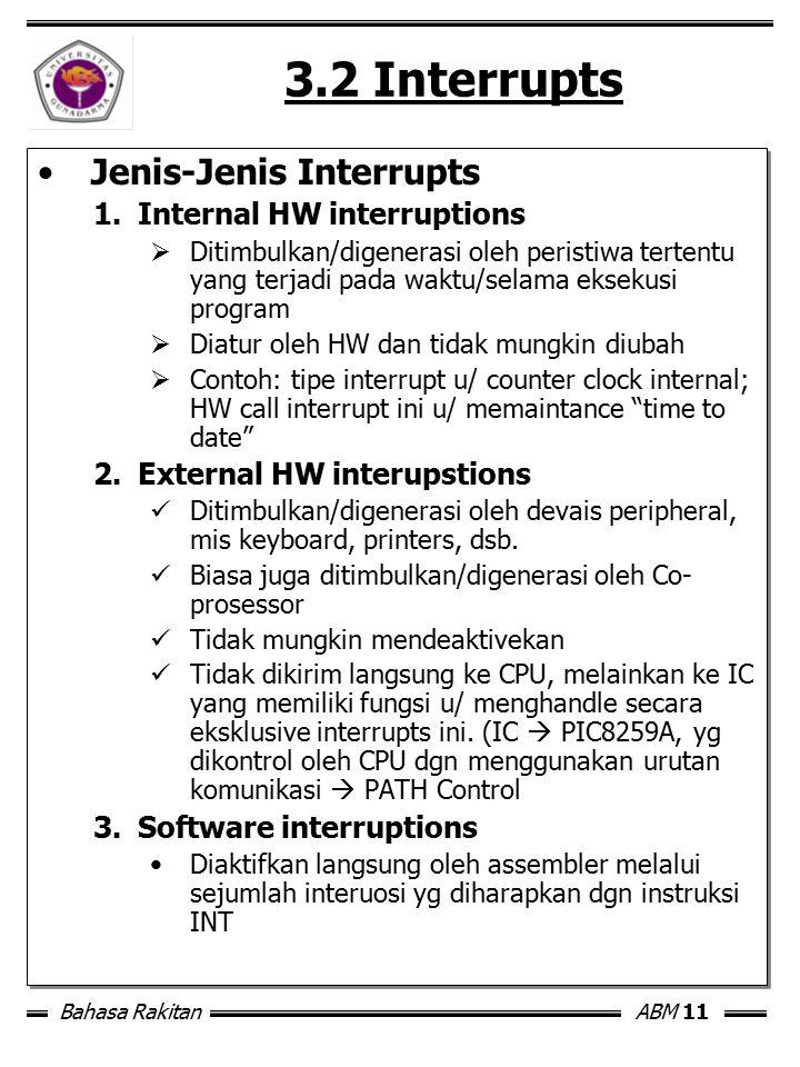 Bahasa RakitanABM 11 3.2 Interrupts Jenis-Jenis Interrupts 1.Internal HW interruptions  Ditimbulkan/digenerasi oleh peristiwa tertentu yang terjadi p