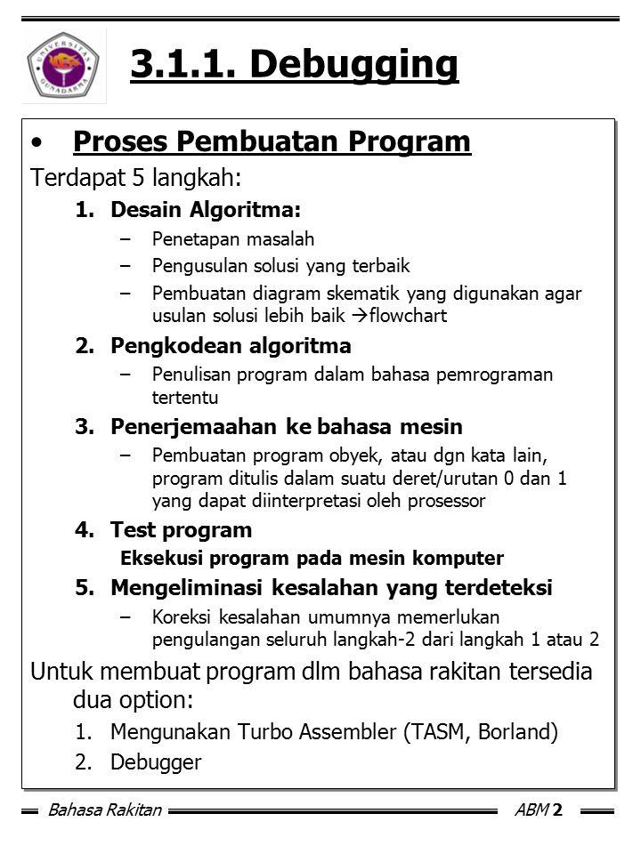 Bahasa RakitanABM 2 3.1.1. Debugging Proses Pembuatan Program Terdapat 5 langkah: 1.Desain Algoritma: –Penetapan masalah –Pengusulan solusi yang terba