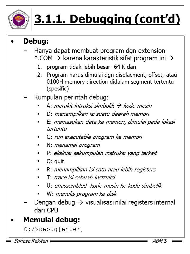 Bahasa RakitanABM 3 3.1.1. Debugging (cont'd) Debug: –Hanya dapat membuat program dgn extension *.COM  karena karakteristik sifat program ini  1.pro