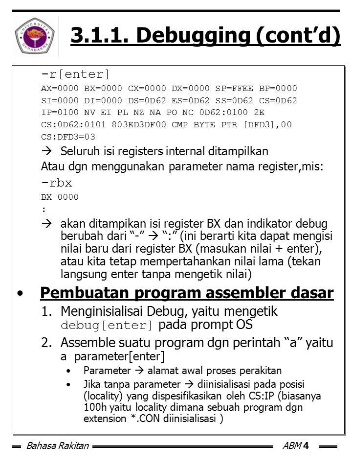 Bahasa RakitanABM 4 3.1.1. Debugging (cont'd) -r[enter] AX=0000 BX=0000 CX=0000 DX=0000 SP=FFEE BP=0000 SI=0000 DI=0000 DS=0D62 ES=0D62 SS=0D62 CS=0D6