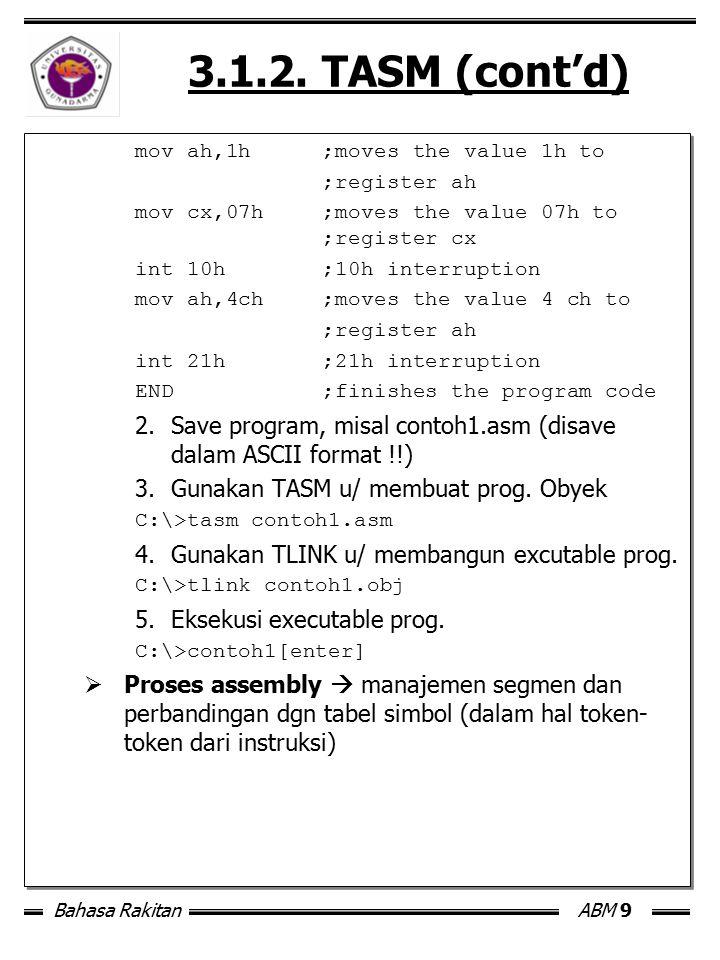 Bahasa RakitanABM 9 3.1.2. TASM (cont'd) mov ah,1h;moves the value 1h to ;register ah mov cx,07h;moves the value 07h to ;register cx int 10h;10h inter