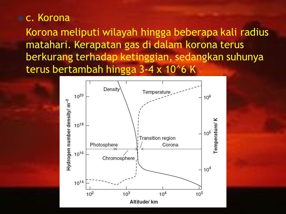  c.Korona Korona meliputi wilayah hingga beberapa kali radius matahari.