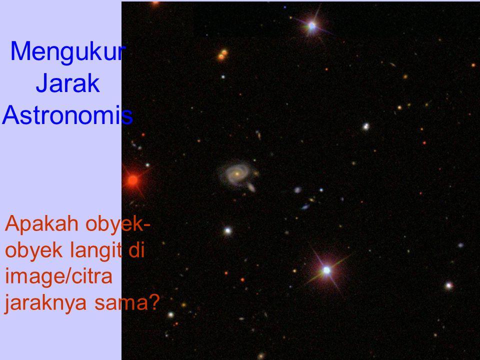 Mengukur Jarak Astronomis Apakah obyek- obyek langit di image/citra jaraknya sama?