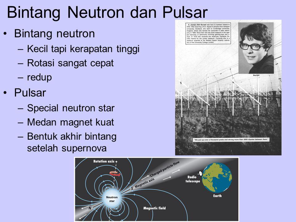 Bintang Neutron dan Pulsar Bintang neutron –Kecil tapi kerapatan tinggi –Rotasi sangat cepat –redup Pulsar –Special neutron star –Medan magnet kuat –B