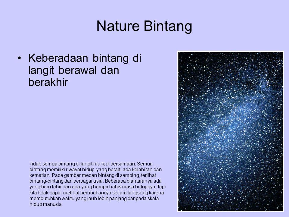 Nature Bintang Keberadaan bintang di langit berawal dan berakhir Tidak semua bintang di langit muncul bersamaan. Semua bintang memiliki riwayat hidup,