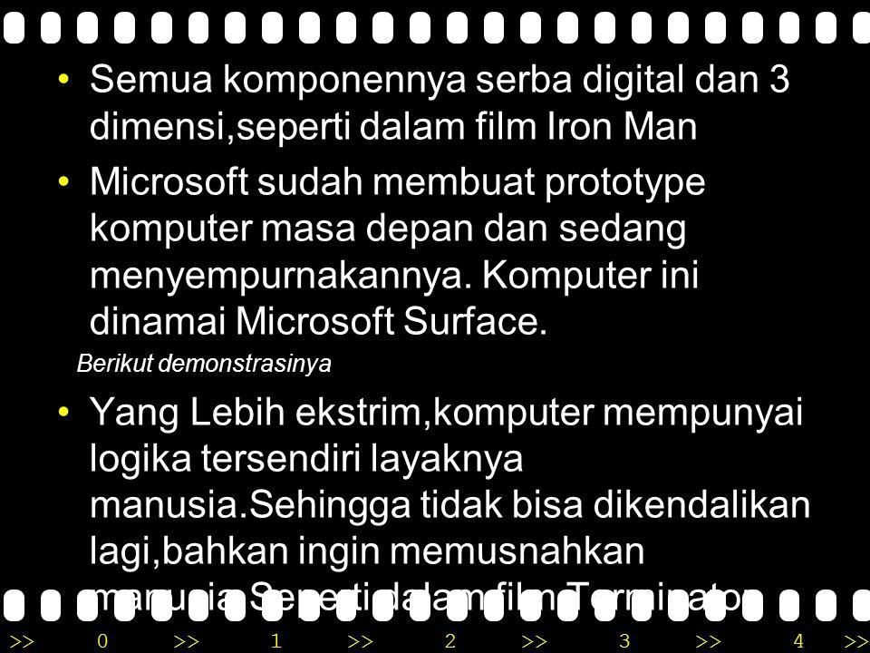>>0 >>1 >> 2 >> 3 >> 4 >> Semua komponennya serba digital dan 3 dimensi,seperti dalam film Iron Man Microsoft sudah membuat prototype komputer masa depan dan sedang menyempurnakannya.