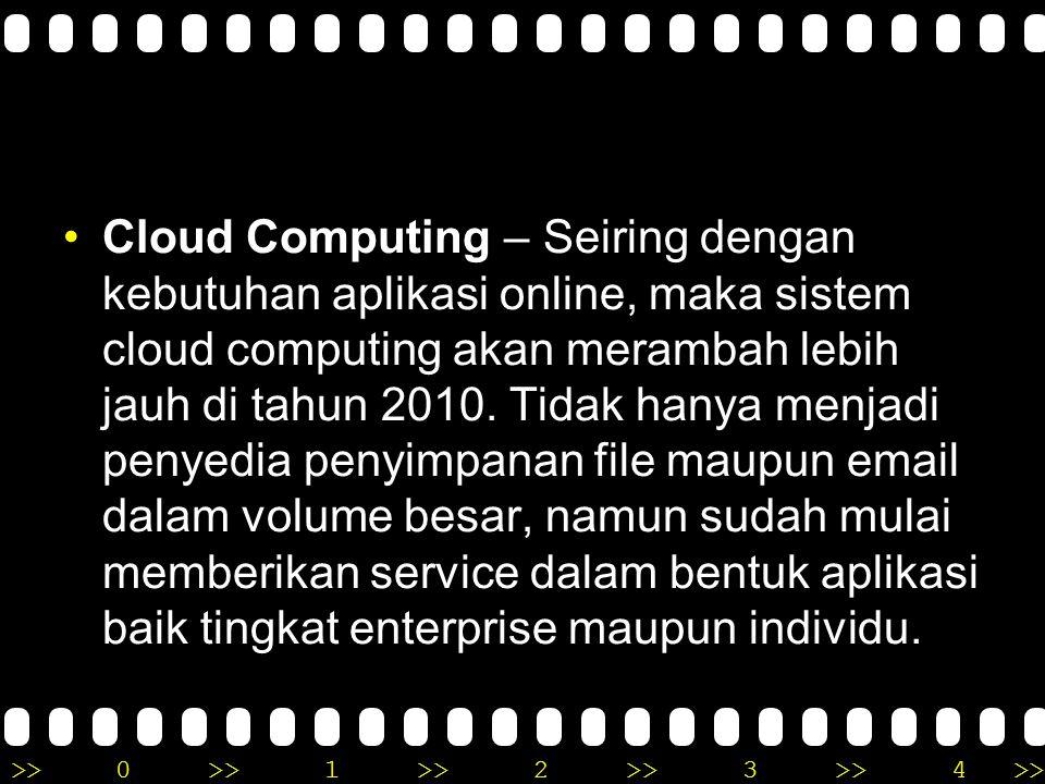 >>0 >>1 >> 2 >> 3 >> 4 >> Cloud Computing – Seiring dengan kebutuhan aplikasi online, maka sistem cloud computing akan merambah lebih jauh di tahun 2010.