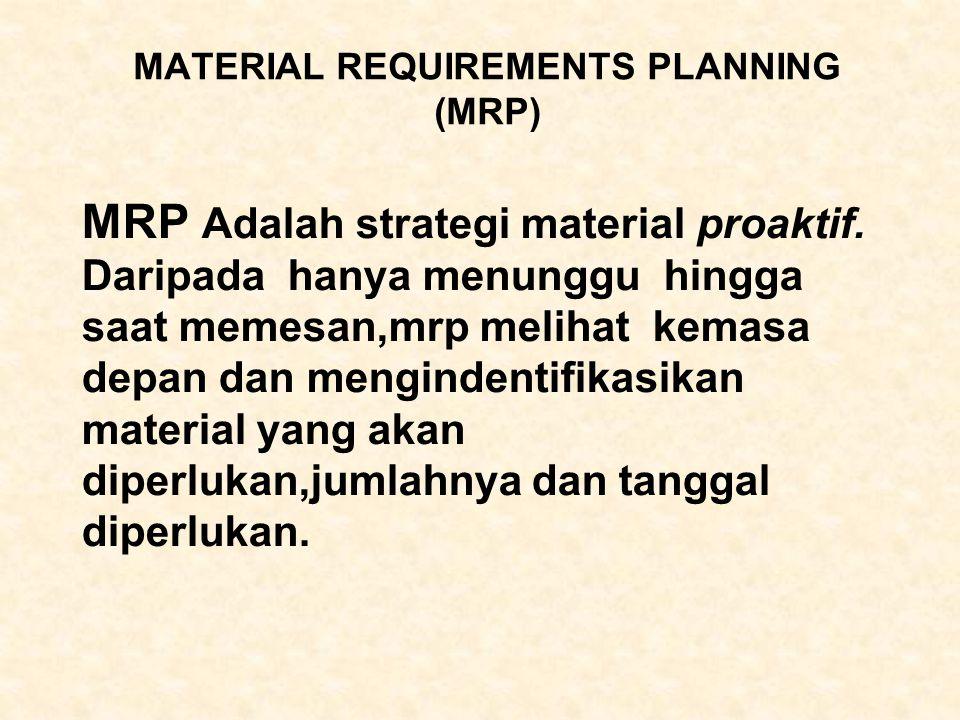 MATERIAL REQUIREMENTS PLANNING (MRP) MRP Adalah strategi material proaktif. Daripada hanya menunggu hingga saat memesan,mrp melihat kemasa depan dan m