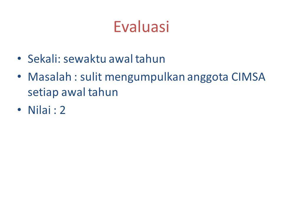 Evaluasi Sekali: sewaktu awal tahun Masalah : sulit mengumpulkan anggota CIMSA setiap awal tahun Nilai : 2