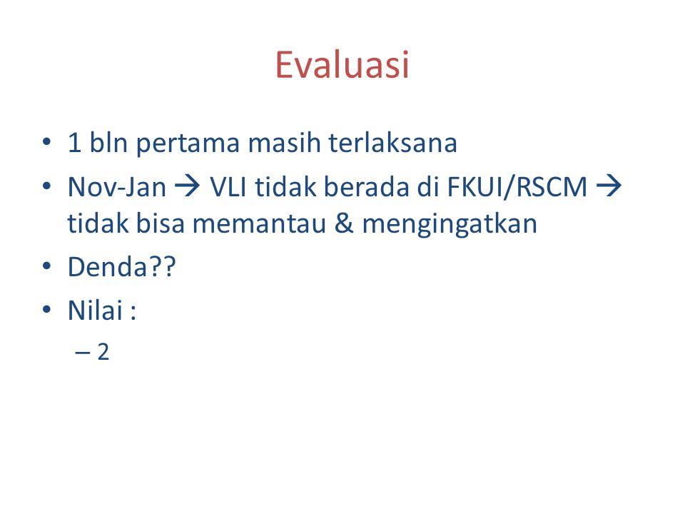 Evaluasi 1 bln pertama masih terlaksana Nov-Jan  VLI tidak berada di FKUI/RSCM  tidak bisa memantau & mengingatkan Denda?? Nilai : – 2