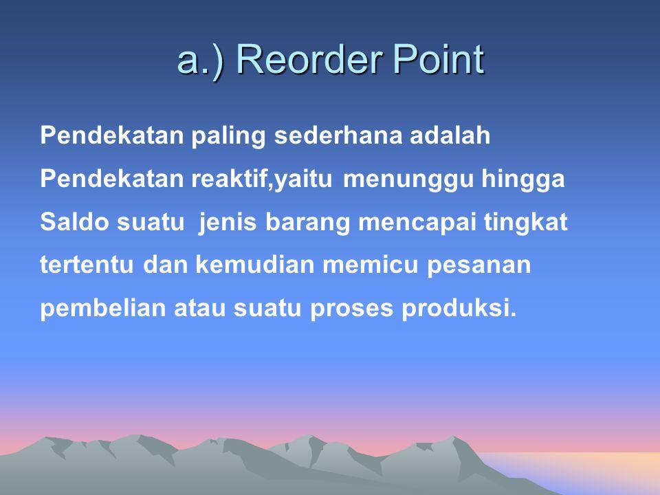 a.) Reorder Point Pendekatan paling sederhana adalah Pendekatan reaktif,yaitu menunggu hingga Saldo suatu jenis barang mencapai tingkat tertentu dan kemudian memicu pesanan pembelian atau suatu proses produksi.