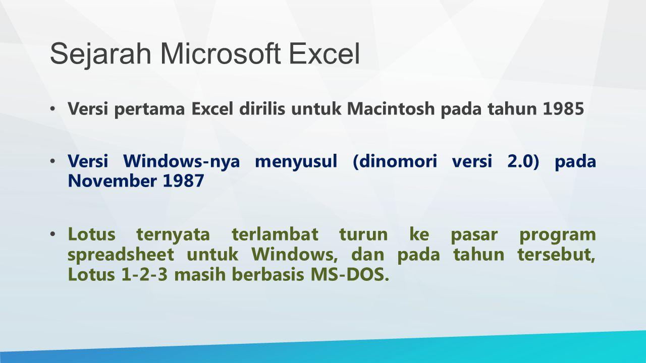 Sejarah Microsoft Excel Versi pertama Excel dirilis untuk Macintosh pada tahun 1985 Versi Windows-nya menyusul (dinomori versi 2.0) pada November 1987 Lotus ternyata terlambat turun ke pasar program spreadsheet untuk Windows, dan pada tahun tersebut, Lotus 1-2-3 masih berbasis MS-DOS.