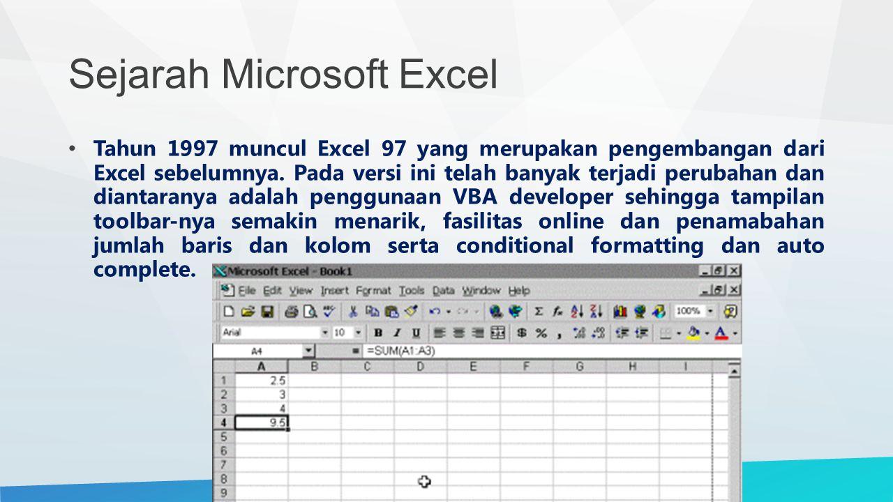 Sejarah Microsoft Excel Tahun 1997 muncul Excel 97 yang merupakan pengembangan dari Excel sebelumnya. Pada versi ini telah banyak terjadi perubahan da