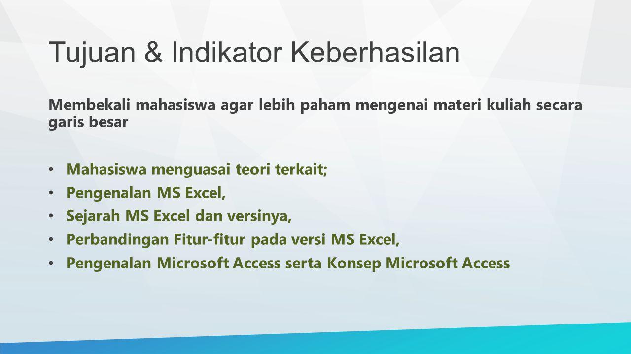 Tujuan & Indikator Keberhasilan Membekali mahasiswa agar lebih paham mengenai materi kuliah secara garis besar Mahasiswa menguasai teori terkait; Pengenalan MS Excel, Sejarah MS Excel dan versinya, Perbandingan Fitur-fitur pada versi MS Excel, Pengenalan Microsoft Access serta Konsep Microsoft Access