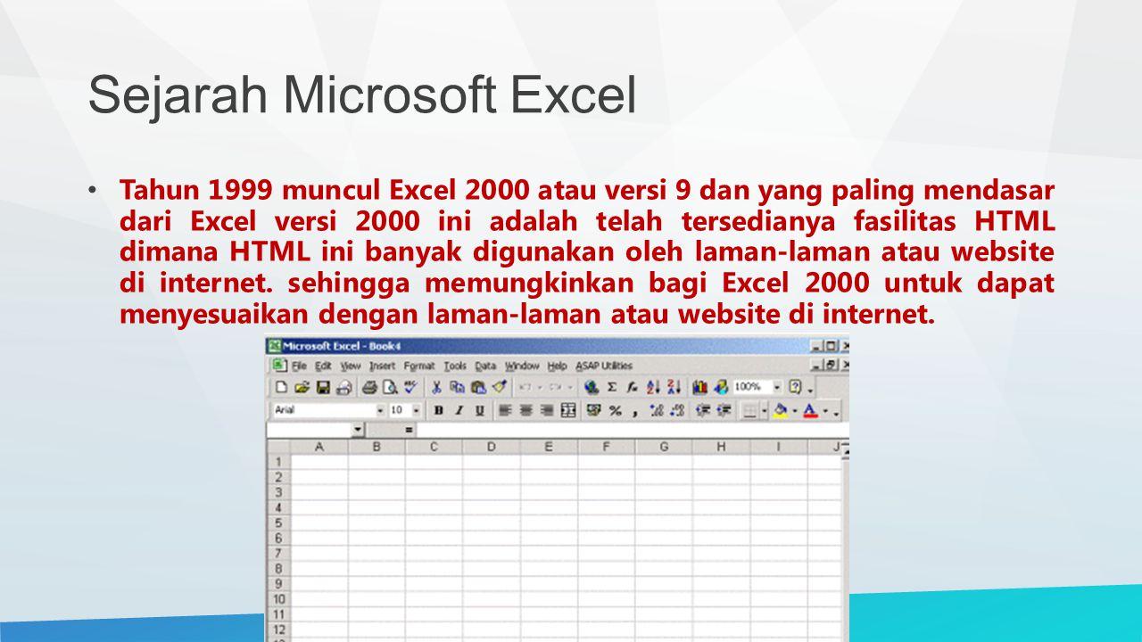 Sejarah Microsoft Excel Tahun 1999 muncul Excel 2000 atau versi 9 dan yang paling mendasar dari Excel versi 2000 ini adalah telah tersedianya fasilitas HTML dimana HTML ini banyak digunakan oleh laman-laman atau website di internet.
