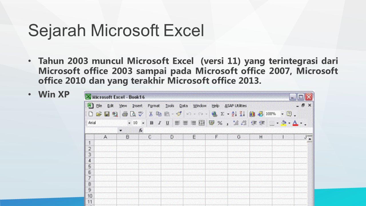 Sejarah Microsoft Excel Tahun 2003 muncul Microsoft Excel (versi 11) yang terintegrasi dari Microsoft office 2003 sampai pada Microsoft office 2007, Microsoft office 2010 dan yang terakhir Microsoft office 2013.