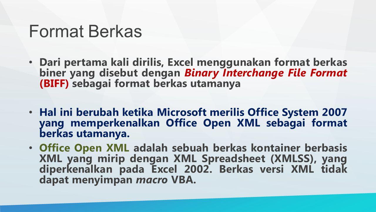 Format Berkas Dari pertama kali dirilis, Excel menggunakan format berkas biner yang disebut dengan Binary Interchange File Format (BIFF) sebagai format berkas utamanya Hal ini berubah ketika Microsoft merilis Office System 2007 yang memperkenalkan Office Open XML sebagai format berkas utamanya.