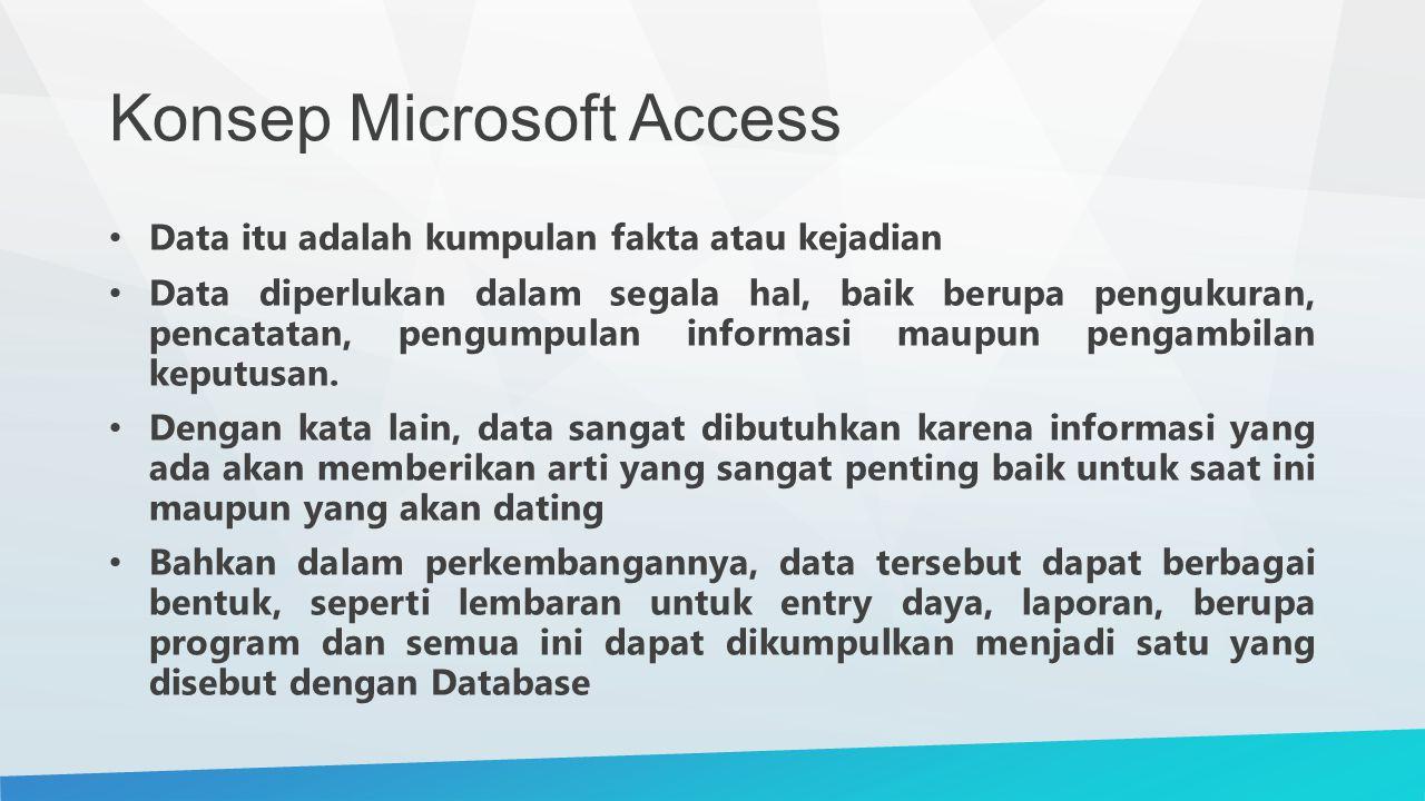 Konsep Microsoft Access Data itu adalah kumpulan fakta atau kejadian Data diperlukan dalam segala hal, baik berupa pengukuran, pencatatan, pengumpulan informasi maupun pengambilan keputusan.
