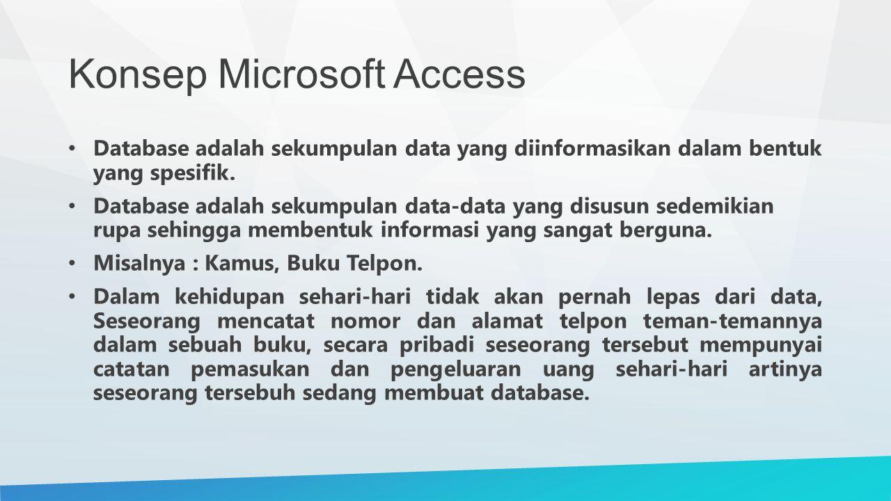 Konsep Microsoft Access Database adalah sekumpulan data yang diinformasikan dalam bentuk yang spesifik. Database adalah sekumpulan data-data yang disu