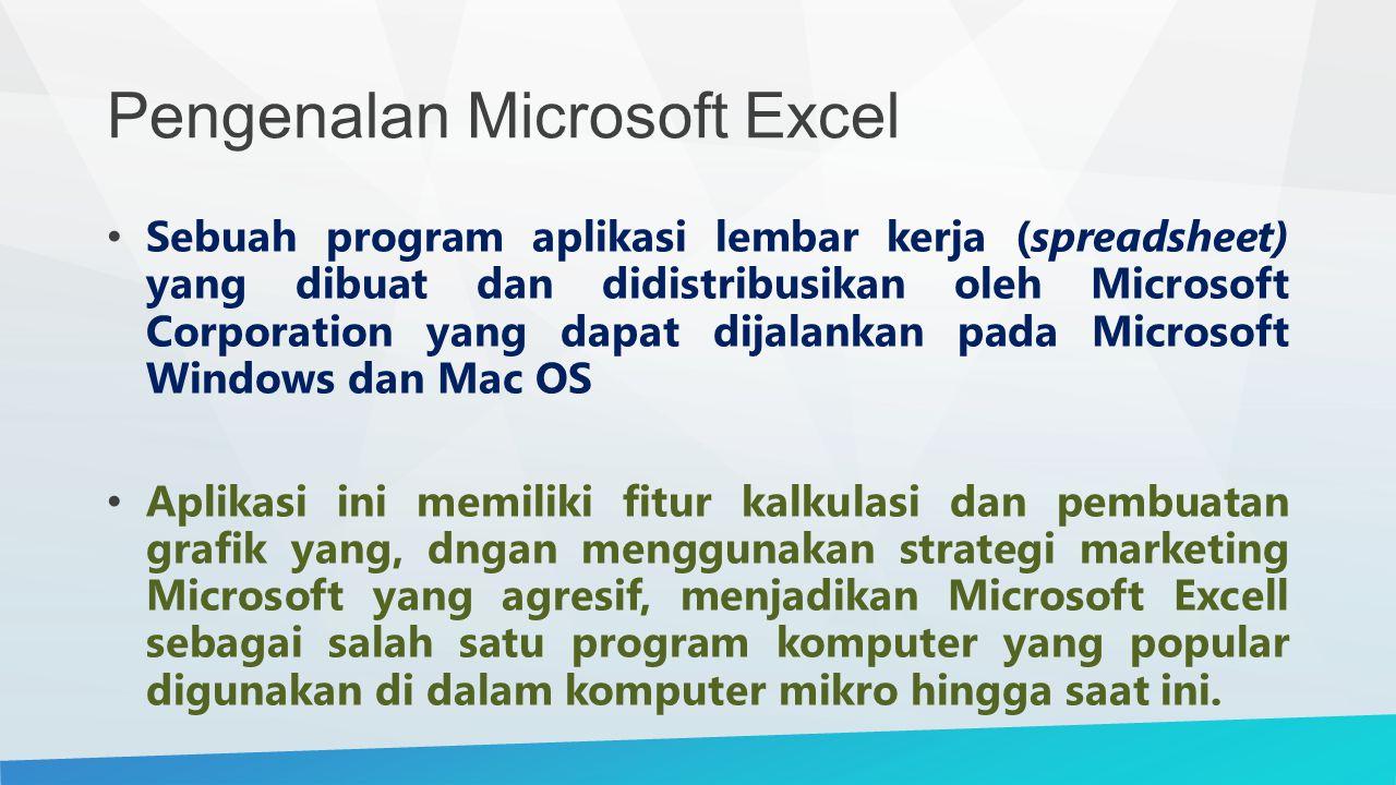 Pengenalan Microsoft Excel Bahkan, saat ini program ini merupakan program spreadsheet paling banyak digunakan oleh banyak pihak, baik di platform PC berbasis Windows maupun platform Macintosh berbasis Mac OS Semenjak versi 5.0 diterbitkan pada tahun 1993.