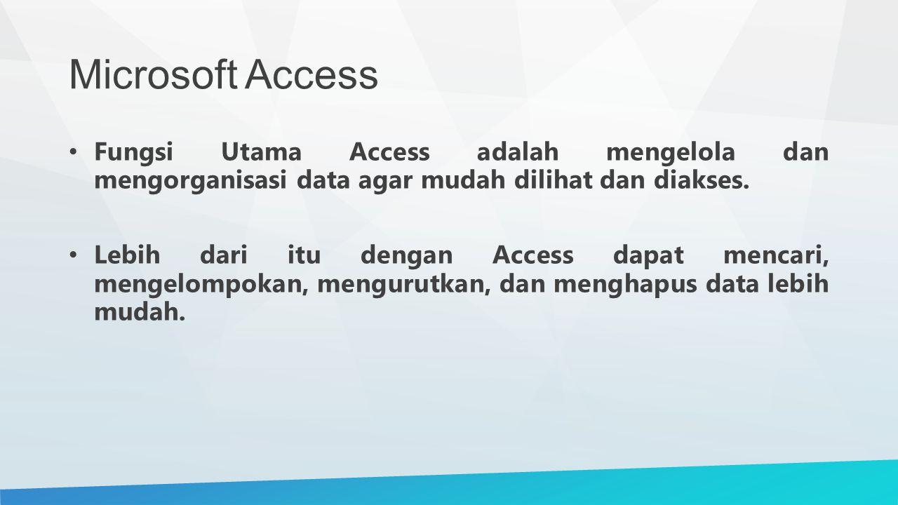 Microsoft Access Fungsi Utama Access adalah mengelola dan mengorganisasi data agar mudah dilihat dan diakses. Lebih dari itu dengan Access dapat menca