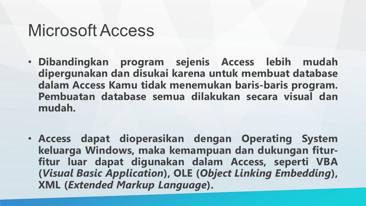 Microsoft Access Dibandingkan program sejenis Access lebih mudah dipergunakan dan disukai karena untuk membuat database dalam Access Kamu tidak menemukan baris-baris program.