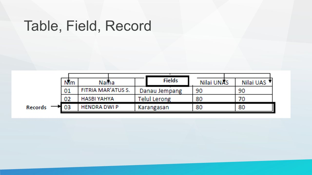 Table, Field, Record