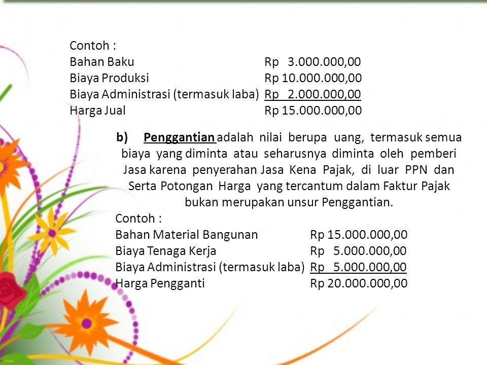 Contoh : Bahan BakuRp 3.000.000,00 Biaya ProduksiRp 10.000.000,00 Biaya Administrasi (termasuk laba)Rp 2.000.000,00 Harga JualRp 15.000.000,00 b)Pengg