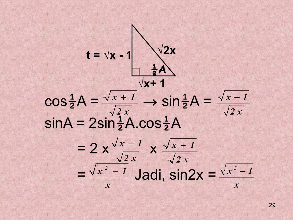 29 cos ½ A =  sin ½ A = sinA = 2sin ½ A.cos ½ A = 2 x x = Jadi, sin2x = ½A √x+ 1 √2x t = √x - 1