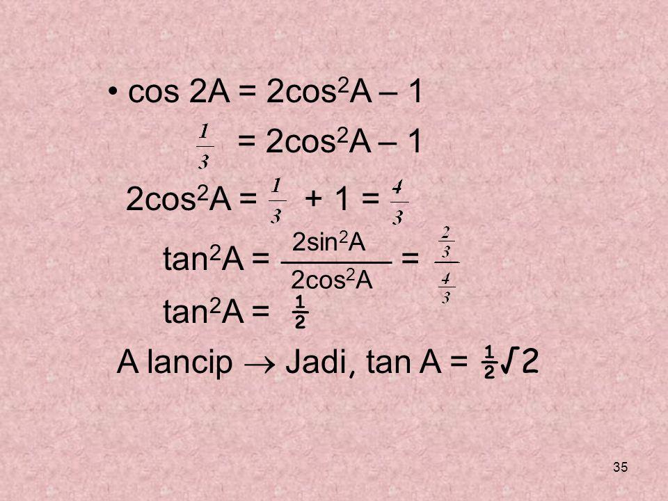 35 cos 2A = 2cos 2 A – 1 = 2cos 2 A – 1 2cos 2 A = + 1 = tan 2 A = = tan 2 A = ½ A lancip  Jadi, tan A = ½√2 2sin 2 A 2cos 2 A