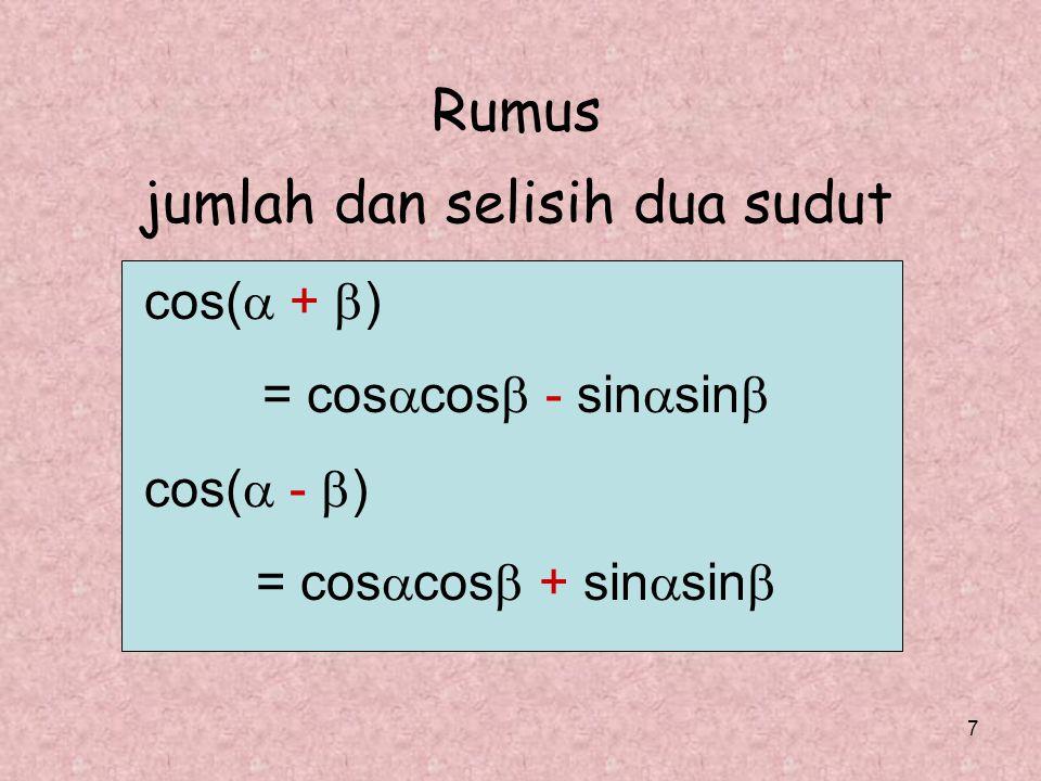 8 1. Bahasan: cos  cos  + sin  sin  = cos(  -  ) = = =