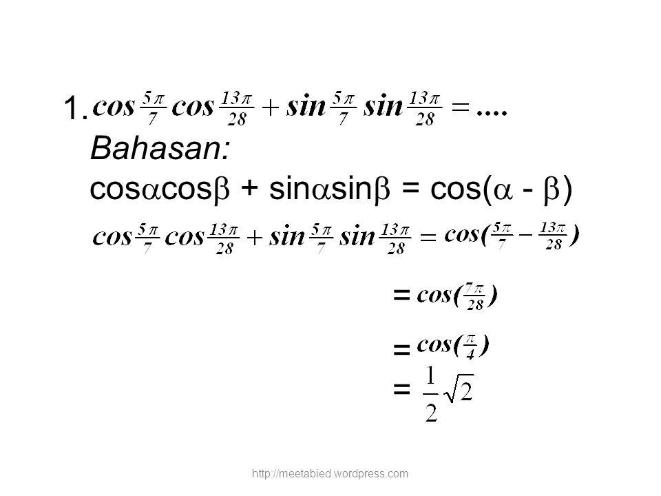 = -1 tan A + ½ = -1 + ½ tan A tan A - ½ tan A = -1 - ½ ½ tan p = -1 ½ Jadi, tan p = -3 http://meetabied.wordpress.com