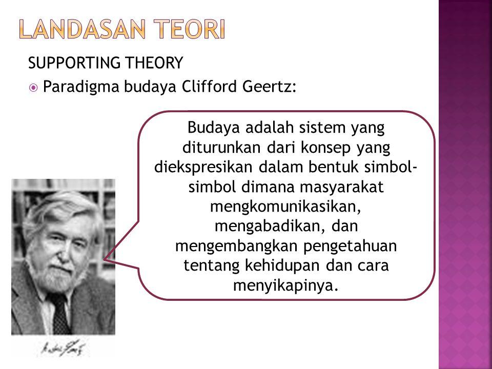 SUPPORTING THEORY  Paradigma budaya Clifford Geertz: Budaya adalah sistem yang diturunkan dari konsep yang diekspresikan dalam bentuk simbol- simbol dimana masyarakat mengkomunikasikan, mengabadikan, dan mengembangkan pengetahuan tentang kehidupan dan cara menyikapinya.